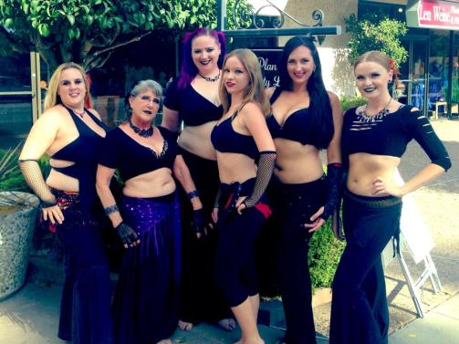 Photo of Lizzy's Dark Fusion class, September 2014, HaflAdira. Dancers (left to right) Deborah, Bambi, Lizzy, Tessa, Katharine, Jeanette